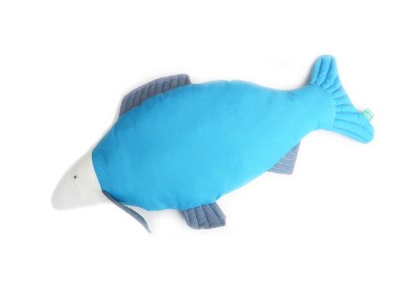 Fish salmon koi carp trout shaped turquoise blue decorative for Fish shaped pillow