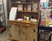 Pine Distressed Hutch Cabinet