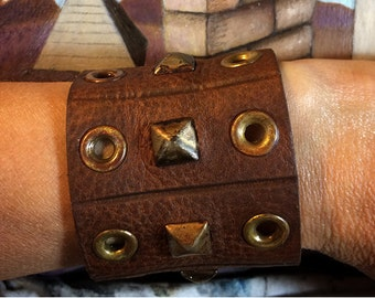Leather Gauntlet Cuff With Rusted Studs and Grommets
