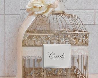 Large Champagne Gold Wedding Birdcage Card Holder / Wedding Card Box / Wedding Card Holder / Wedding Birdcage