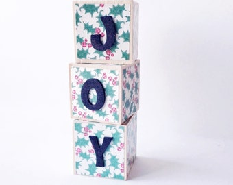 JOY Christmas Home decor. Wood blocks. Wooden toy. Shelf Sitter. Holiday gift for teacher. Seasonal decoration. Holly print. SALE