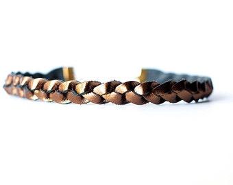 Braided Leather Choker / Necklace / Metallic Bronze