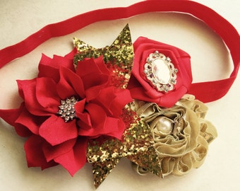 Baby Girl  rhinestone  Red and gold satin bow and rosette lace headband, Baby Lace Headbands.Girl Headbands.