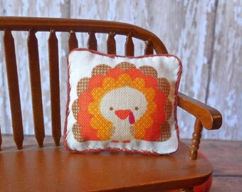 "Dollhouse Miniature Decorator pillow  ""Tom Turkey"" - 1:12 scale, Fall Decor, Thanksgiving"