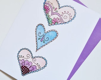 Doodled Hearts Love Greeting Card