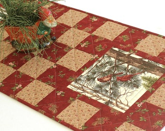 Christmas Table Runner, Quilted Cardinal Table Runner, Winter Table Quilt, Red Table Topper, Quiltsy Handmade