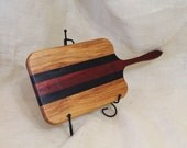 Paduak, Wenge and Canary Wood Handled Cheese Board Striped with Hardwoods