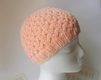 Knit Lace Beanie, Lace Hat for Women in Light Orange Melon Other Colors Available Lightweight Fall Autumn Hat