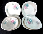 SALE! Retro Atomic Dessert Bowls, Midwinter Modern Fashion Shape 'Quite Contrary' Candy Pink, Aqua, Grey Starburst 4 Lge 2 Sm Bowls 1960s