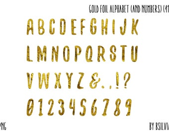 Gold Foil Alphabet and Numbers Clip Art, Letters Clip Art, Gold Letters Clip Art, Gold Numbers PNG Files, Clip Art for Digital Scrapbooking