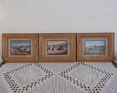 Vintage Horse Print Picture Frame Set Wall Hanging Trio Collection Country Western Ranch Cowboy Cowgirl Home Decor Birthday Gift Him Her