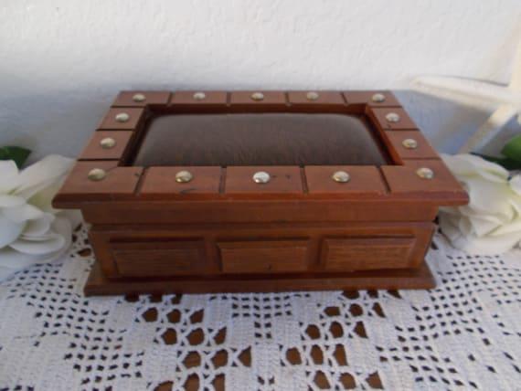 Man Jewelry Box Vintage Wood Organizer Wooden Valet Watch Necklace Ring Storage Mid Century Mad Men Retro Home Decor Birthday Gift Him