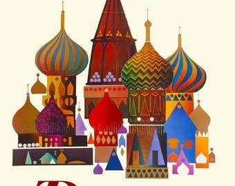 St. Basils Cathedral Moscow Russia Pan Am Airlines Airplane Vintage Travel Advertisement Art Poster Print