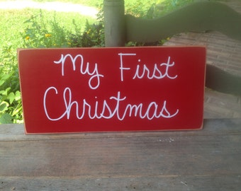 Red and White My First Christmas Photo Prop Sign, Baby's First Christmas Sign Prop