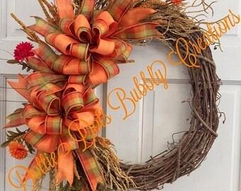 A Plaid Fall Floral Grapevine Wreath, Fall Wreath, Grapevine Wreath