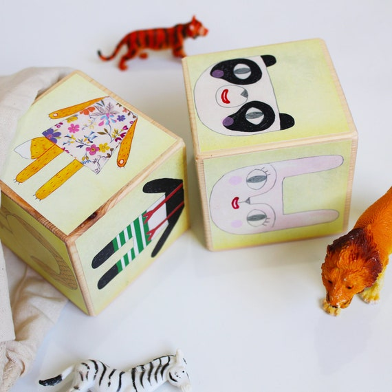Wooden Blocks - animal mix and match