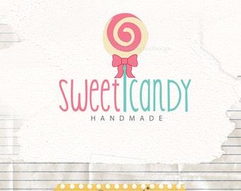 Candy premade logo design - lollipop logo pre made - sweet logo - cute logo - boutique logos - photography logos - candy boutique logo