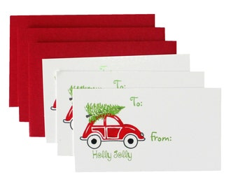 SALE Red Christmas VW Gift Tags