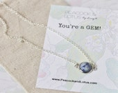 You're a Gem - Blue & White Porcelain Delicate Modern Stone Necklace