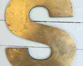 """Large Vintage Brass Industrial Letter: """"S"""""""
