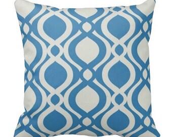 outdoor pillows, patio pillows, blue pool pillows, blue pillow covers, blue white outdoor pillows, blue white lounge pillow, blue lumbars