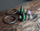 Rustic fine silver and handmade clay bead earrings - Gypsy boho earrings - Turquoise, pea green, bronze, lavender- earthy colors