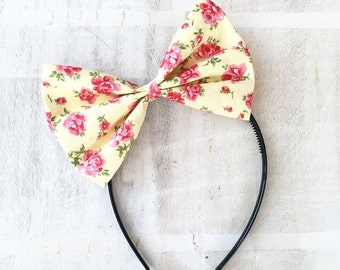 Yellow with pink flowers bow headband Rockabilly Pin up girl