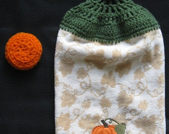 Handmade Hanging Kitchen Towel and Orange Dish Scrubby, Scrubber, Kitchen Gift Set