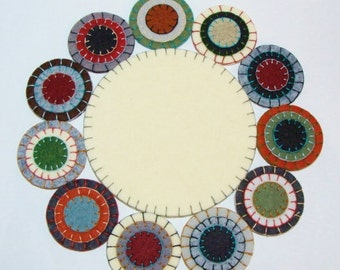 Angel Wings Candle Mat Penny Rug KIT-Wool Felt Blend Circles and Embroidery