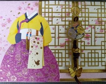 Korean Traditional Designed Envelope with Memo Card - Korean Traditional Cloth Hanbok 2