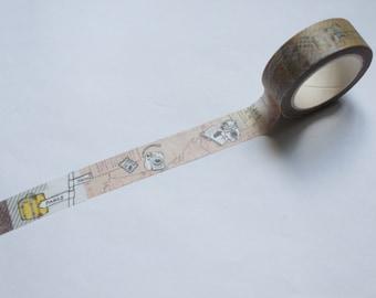Tape-Washi Tape-Masking Tape-Single Roll- Happy Travel trip bag travel