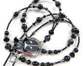 DARTH VADER- Beaded ID Lanyard Badge Holder- Glass Pearls, Sparkling Crystals and Silver Beads and Spacers (Magnetic Clasp)