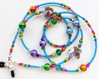 CHEERFUL BUTTERFLIES- Handmade Beaded Eyeglass Lanyard/ Eyeglass Chain- Spectra Beads and Sparkling Crystals