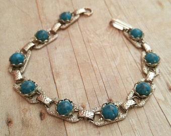 "Vintage Southwestern Faux Turquoise Bracelet 7.5"" long silver tone native style"