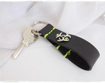 Biohazard Keyfob, Sci-Fi Leather Keychain, Zombie Apocalypsh Key-Chain, LARP Key-Chain, Apocalypse Leather Key Ring, Men's Leather Keychain