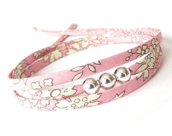 Best friend birthday gift, silver bead wrap with baby pink Liberty fabric, Sweet 16 gift for sister, pastel colour bracelet