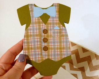 Baby Boy Card, baby one piece shaped card, vest and bow tie, hand stamped card, handmade lined envelope, little man baby card (C1237)