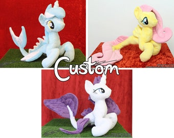 Custom Hippocampus Pony Plushie ~ Inspired by Rarity Fluttershy Lyra or self-designed original characters - merpony fishpony