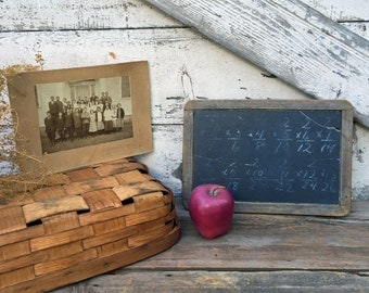 Vintage Schoolhouse Set - Antique Individual Slate Chalkboard and Group Class Photo