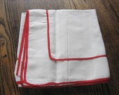 "Simple White with Red Piping Bridge Card Table Tablecloth 37"" Square"