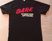Vintage D.A.R.E. to keep kids off Drugs T-SHIRT 80s Large 50/50 Spring Ford