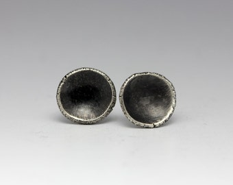 Rustic Sterling Studs, Silver Discs, Organic Silver Studs, Unisex Earrings