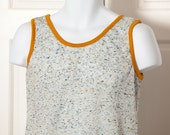 Vintage 70s Awesome Speckled Tank - light-weight yellow blue black - M