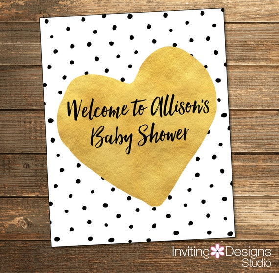 Baby Shower Polka Dots Welcome Sign - Gold Teal