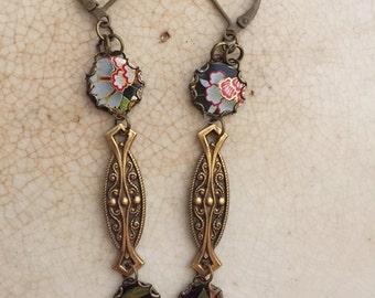 "Tin Jewelry Earrings ""Ebony Garden"" Tin for the Ten Year Tenth Wedding Anniversary"