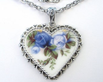 Beautiful Blue Moonlight Rose Royal Albert Heart Pendant Necklace Vintage Charm 'Broken China' Porcelain Jewelry by Charmedware