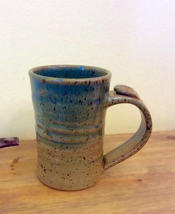 Pottery Mug, Thumb Rest, Tall Coffee Cup, Blue Green