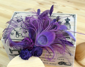 Purple Peacock Feather and Silk Rosette Hair Clip