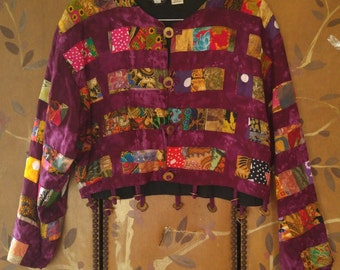 90s Indonesian Batik patchwork crop jacket with faux coins by Nativewear Designs