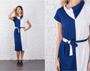 White + Navy Blue Color Block Dress Vintage 80s Shift Medium m Retro 8362